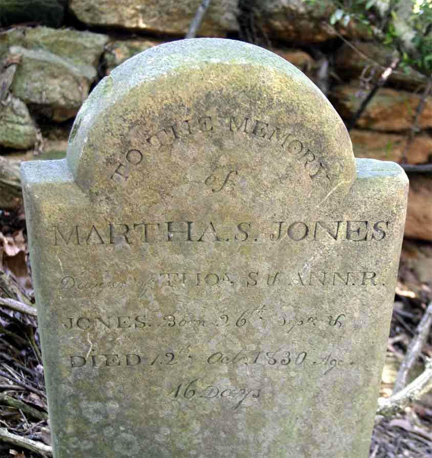 Headstone for Martha S. Jones 1830